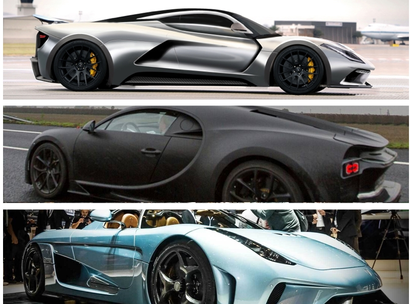 Chiron vs Venom F5 vs Regera side