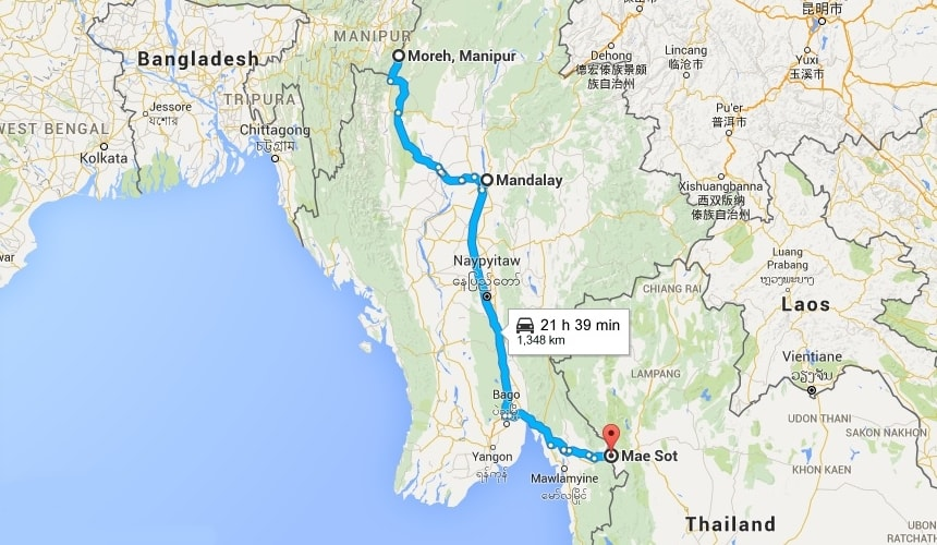 India to thailand by road through myanmar
