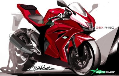 Red coloured Suzuki GSXR150