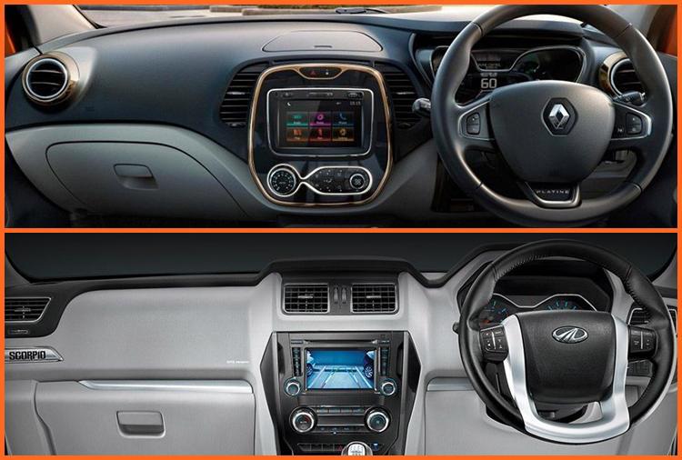 Mahindra Scorpio vs Renault Captur interior