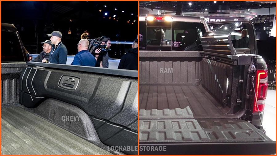 2019 Chevrolet Silverado vs 2019 Ram 1500 lockable storage