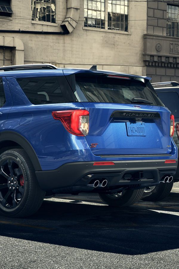 rear of a blue ford suv