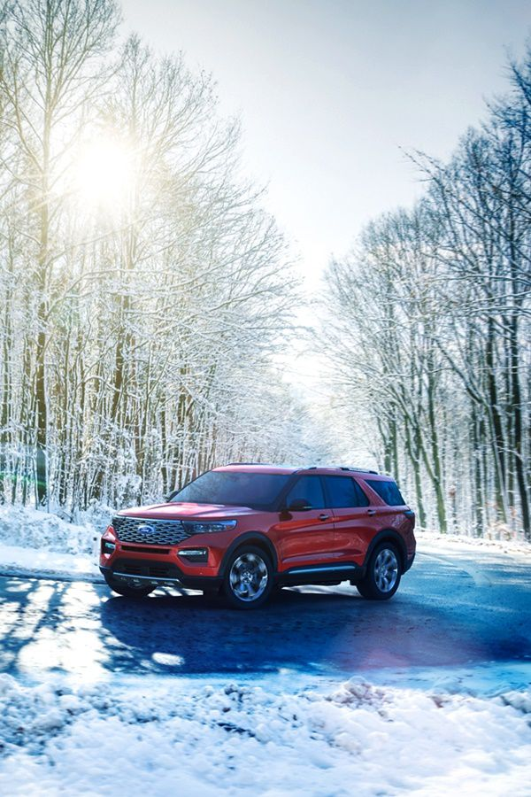 ford hybrid vehicle on snow covered road