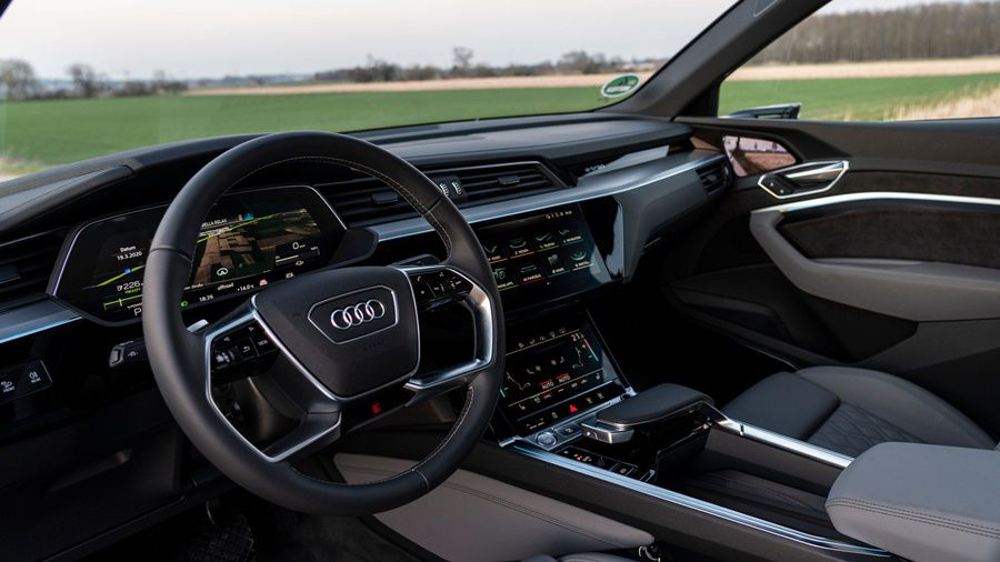 Steering with audi logo and dashboard