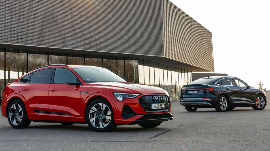red and black electric Audi SUVs