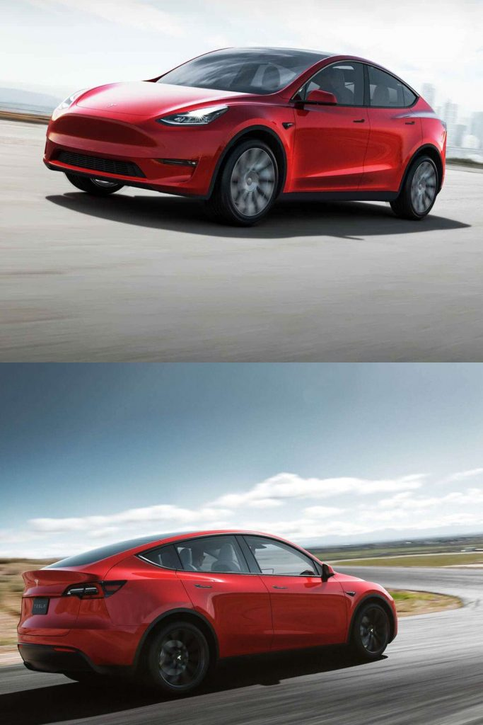 red tesla model y front, side and rear