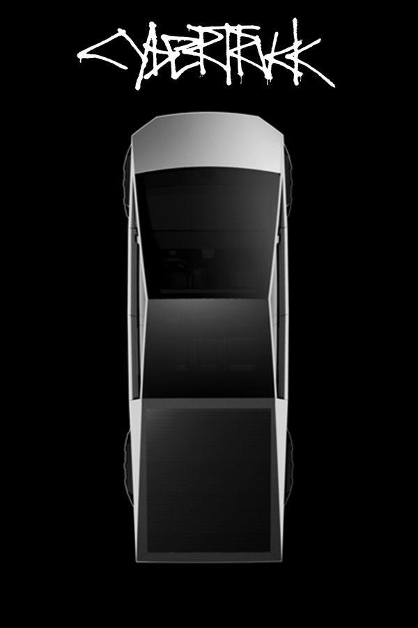 top view of black Tesla Cybertruck