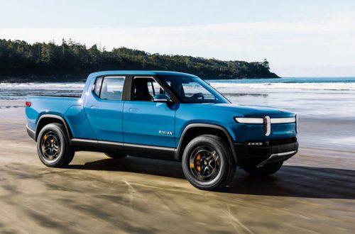 blue truck Rivian