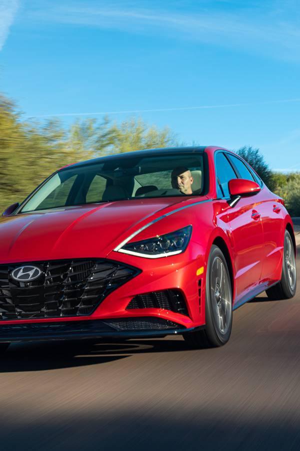 Red sporty Hyundai Sonata