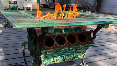 This Fire-Breathing Engine Table With Working Gas Pedal Is So Metal
