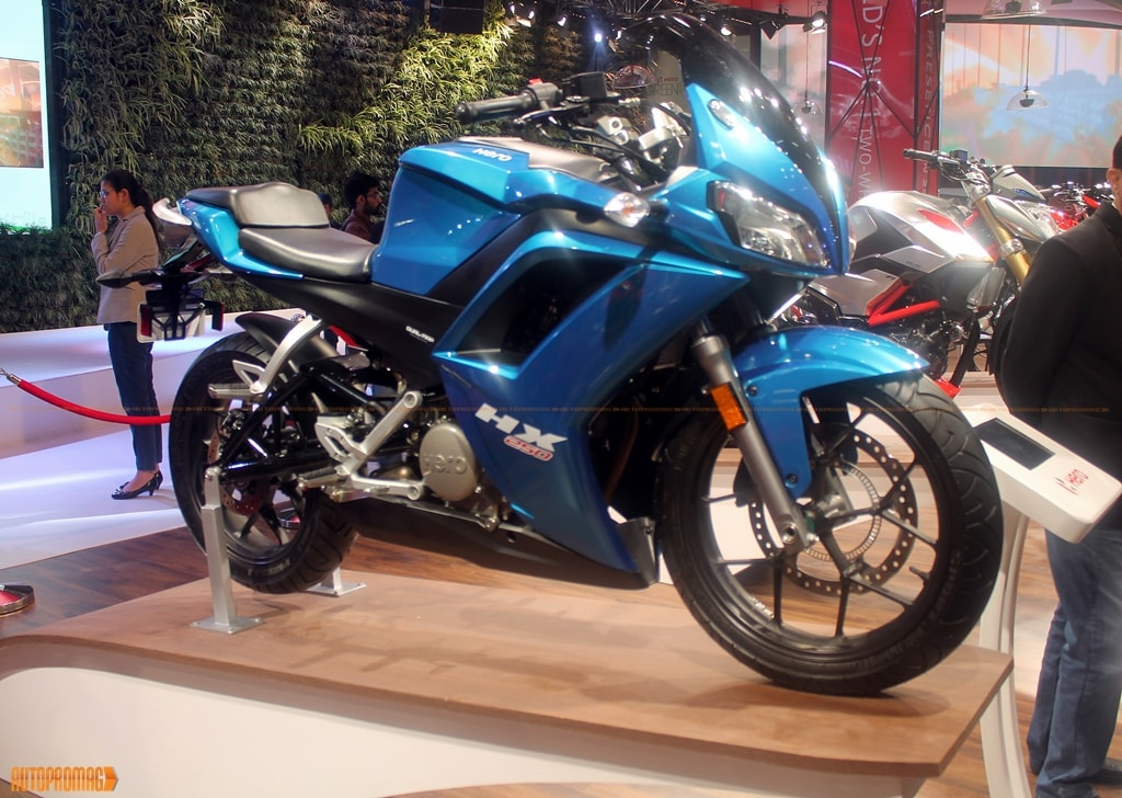 Auto Expo 2016 Launches Updates News Images: Auto Expo 2016: Hero HX250 Showcased In Blue- Price And