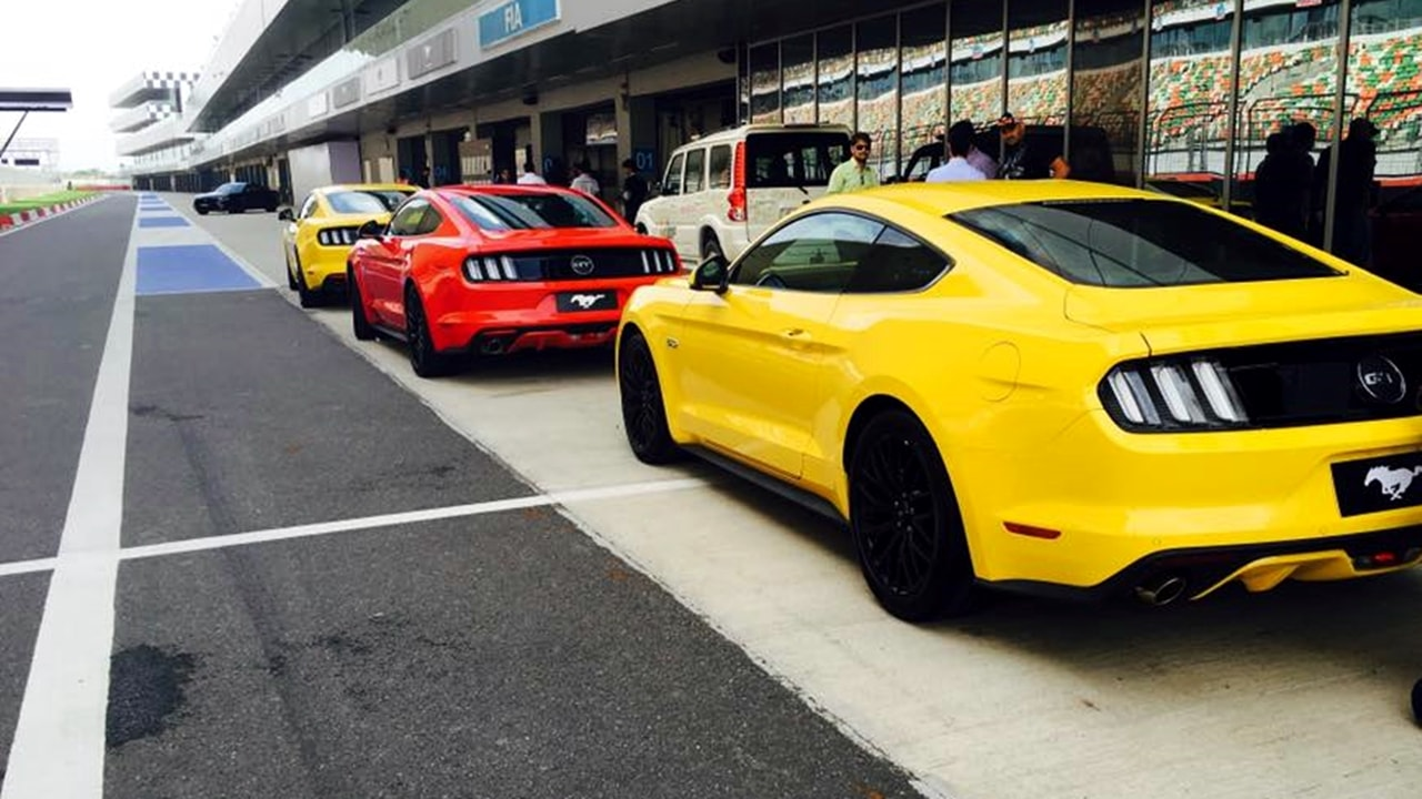 Ford Mustang yellow rear