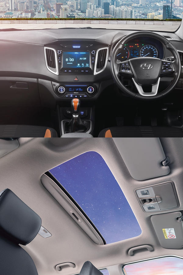 Hyundai Creta 2018 interior and sunroof