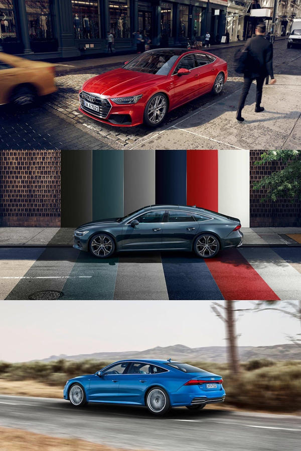 New Audi A7 2019 red, blue, grey