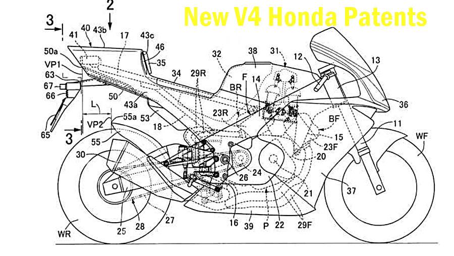 Honda V4 bike patent images RVF1000